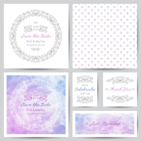 mono color: wedding templates set with floral ornate elements and watercolor backgrounds Illustration