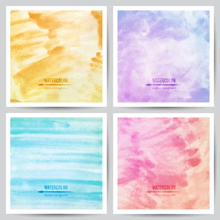 azul turqueza: conjunto de texturas vector acuarela sobre papel blanco, azul, violeta, rosa y colores naranja