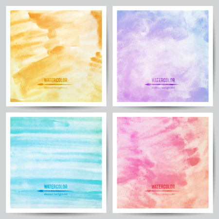 set of vector watercolor textures on white paper, blue, violet, pink and orange colors Ilustração