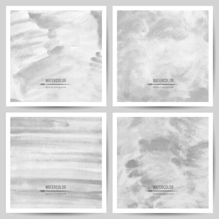four texture: set of vector watercolor textures on white paper, black and white colors