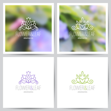 vector flower  set on blurred backgrounds of lotus and on white Vector