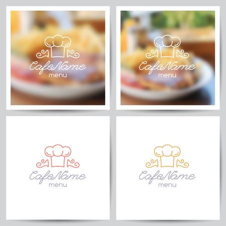 logos restaurantes: vector conjunto de plantillas de portada men�, logotipo de cafeter�a o restaurante y fondos borrosos de alimentos