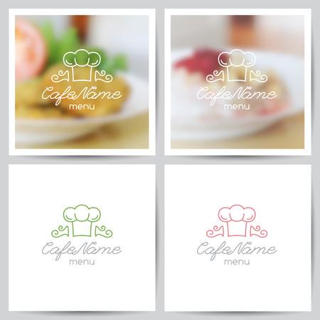 logo de comida: vector conjunto de plantillas de portada menú, logotipo de cafetería o restaurante y fondos borrosos de alimentos