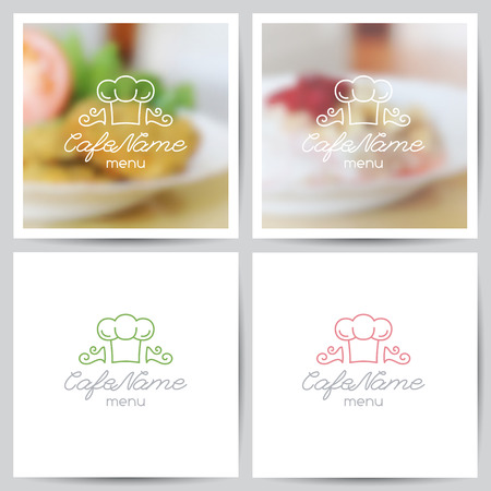 nuggets: vector set of menu cover templates, logo for cafe or restaurant and blurred backgrounds of food Illustration