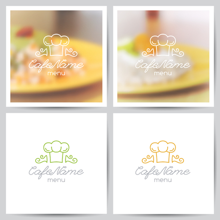 background photo: vector set of menu cover templates, logo for cafe or restaurant and blurred backgrounds of food Illustration