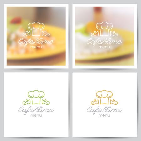 food background: vector set of menu cover templates, logo for cafe or restaurant and blurred backgrounds of food Illustration