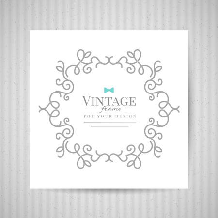 floral ornate frame on white paper and old cardboard texture, vector background for vintage design Illustration