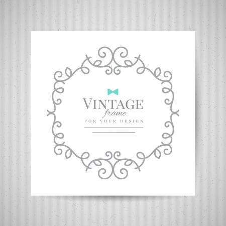 cardboard texture: floral frame on white paper and old cardboard texture, vector background for vintage design
