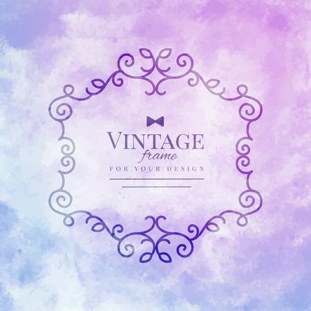 purple swirl: vector floral vintage frame on purple watercolor background