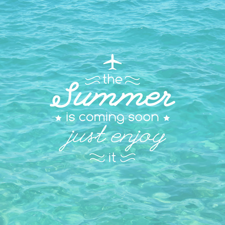 Wonderful #39959277   Summer Is Coming, Vector Illustration With Typographic  Composition And Realistic Sea Water Surface