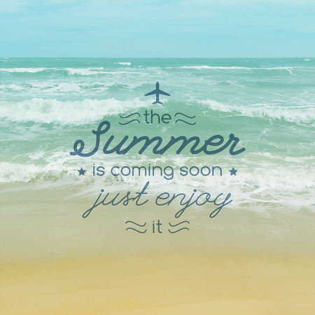 summer is coming soon, vector illustration with text and realistic seascape for travel design