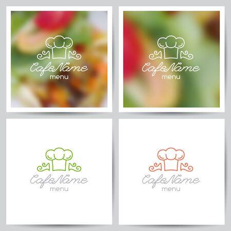 logotipos de restaurantes: vector conjunto de plantillas de portada menú, logotipo de cafetería o restaurante y fondos borrosos de alimentos