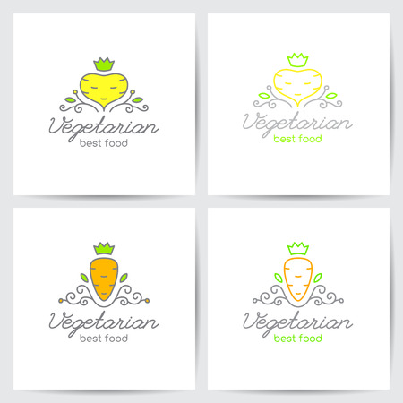 turnip: Vector logo set of carrot and turnip for vegetarian cafe or vegetables shop, mono line style