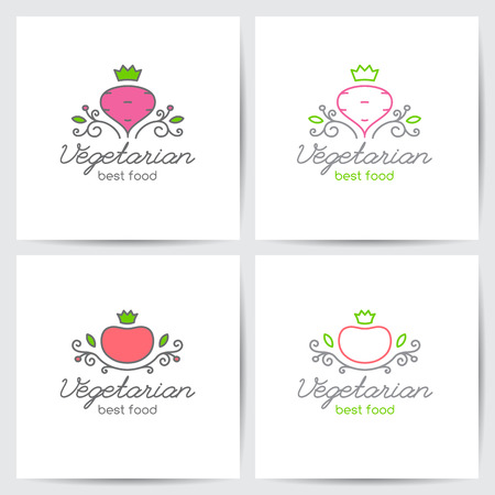 ビートとベジタリアン カフェや野菜店、モノラル ライン スタイルのトマトのベクトルのロゴを設定