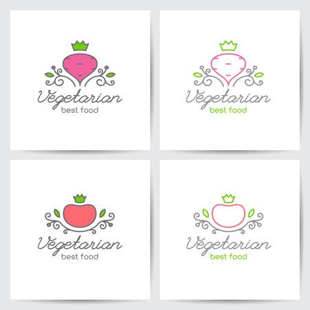 Vector logo set van biet en tomaat voor vegetarische cafe of groenten winkel, mono lijn stijl Stock Illustratie