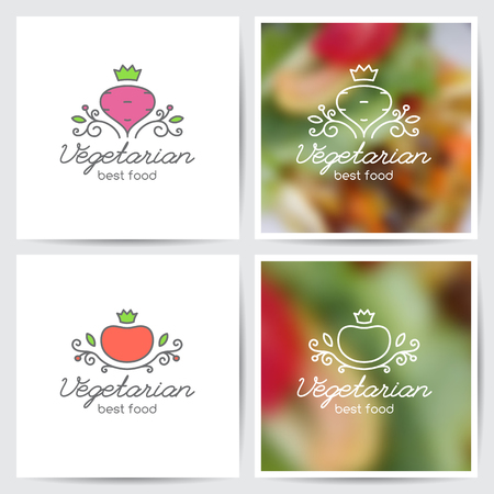 Vector logo set of beet and tomato for vegetarian cafe or vegetables shop, mono line style, variations on white and on blurred background Illustration
