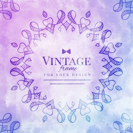 lillac: vintage hand drawn frame on purple watercolor background