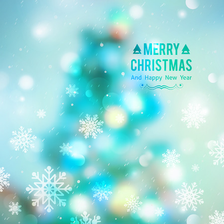 vector christmas tree, blurred background with lights and snowflakes Illustration