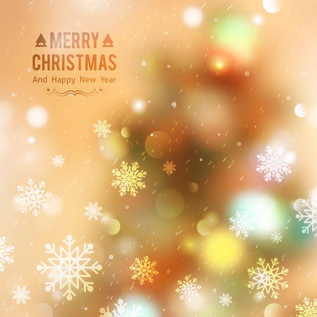 blurred lights: vector christmas tree, blurred background with lights and snowflakes Illustration