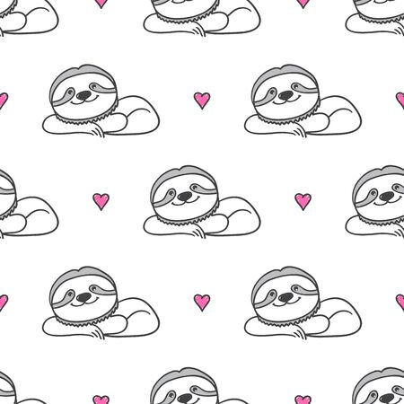 cute hand drawn sloths on white background
