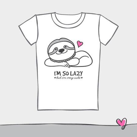 sloth: pereza linda dibujado a mano en la camiseta, plantilla de impresión