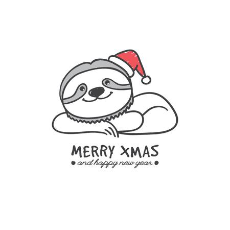 sloth: pereza dibujado mano linda en el fondo blanco, ilustración de la Navidad