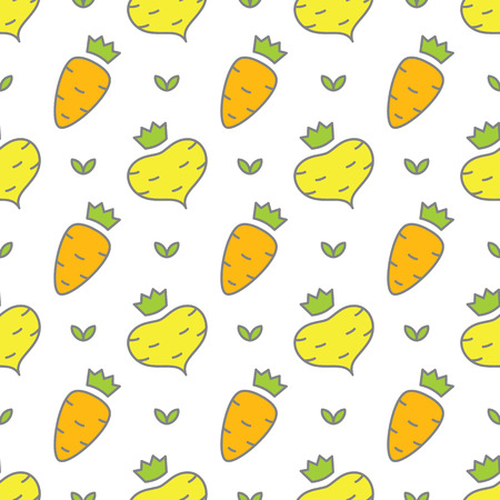 seamless pattern of vegetables - carrots and turnips