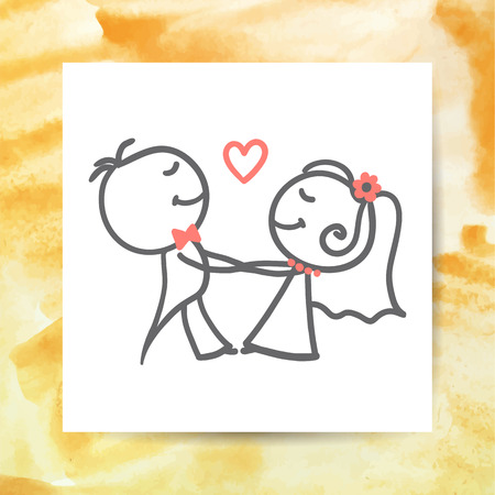 Bräutigam und Braut, Vektor Hand gezeichnet Hochzeit Paar auf weißem Papier-Seite mit Aquarell-Hintergrund