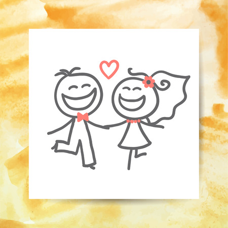 spouses: groom and bride, vector hand drawn wedding couple on white paper page with watercolor background