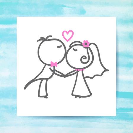 segurar: pares do casamento do noivo e da noiva, vetor desenhado à mão na página papel branco com fundo da aguarela