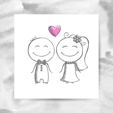 Pares de la boda del novio y de la novia, vector dibujado a mano en blanco página de papel con el fondo de la acuarela Ilustración de vector