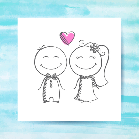 bride: groom and bride, vector hand drawn wedding couple on white paper page with watercolor background