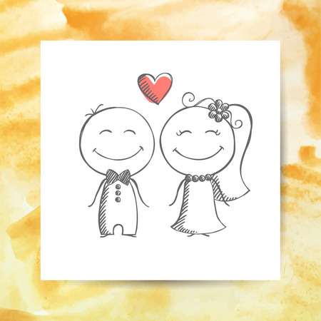 groom and bride, vector hand drawn wedding couple on white paper page with watercolor background