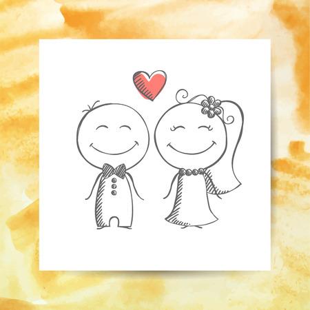 sposi sposo e la sposa, disegnato vettore mano su fondo bianco pagina di carta con sfondo acquerello
