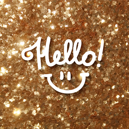 tinsel: hello, handwritten text and smile on gold tinsel background