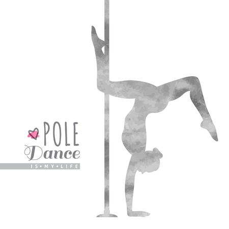 pole: vector watercolor silhouette of girl and pole, pole dance illustration