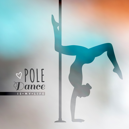 pole dance: vector silhouette of girl and pole on blur background, pole dance illustration