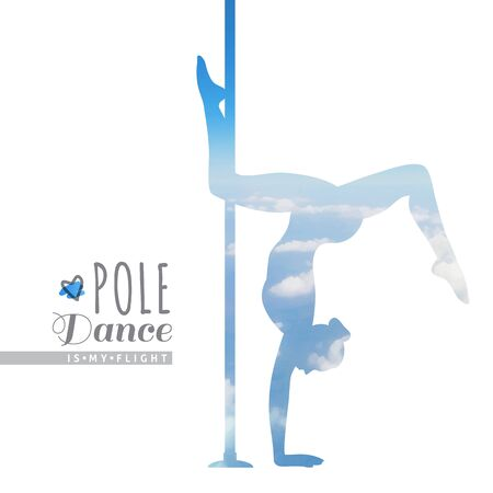 pole dance: vector silhouette of girl and pole, pole dance illustration with skyscape