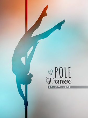 pole: vector silhouette of girl and pole on blur background, pole dance illustration