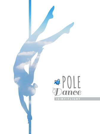pole: vector silhouette of girl and pole, pole dance illustration with skyscape