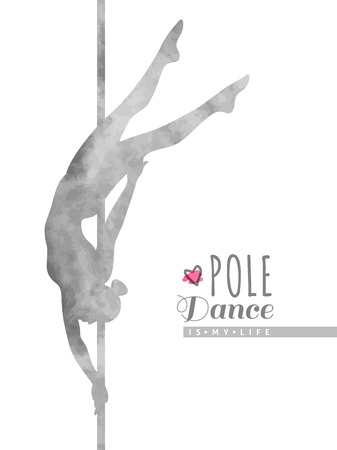 pole dance: vector watercolor silhouette of girl and pole, pole dance illustration