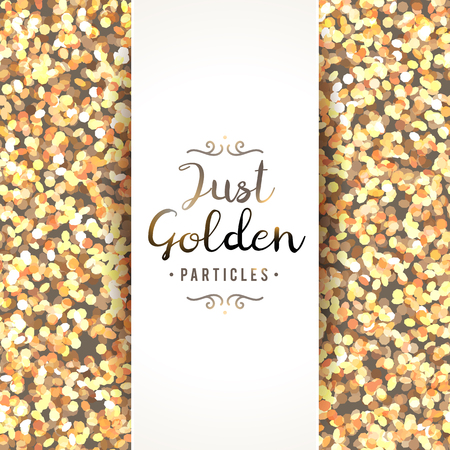holiday background: vector sparkles seamless pattern, texture of golden particles and white banner