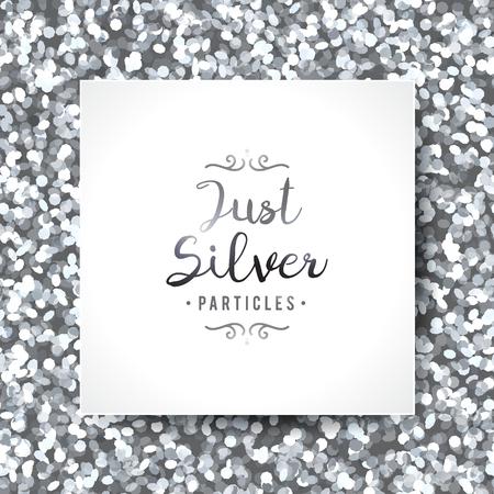 vector brilla sin patrón, textura de partículas de plata y el marco blanco