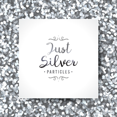 vector sparkles seamless pattern, texture of silver particles and white frame Stock Illustratie