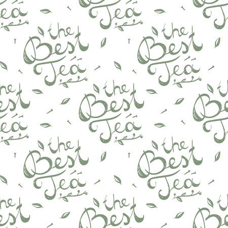 writting: the best tea, vector handwritten text, lettering composition
