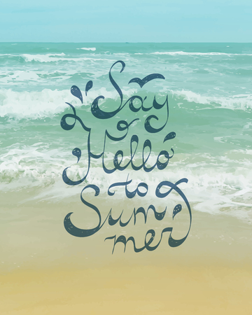 seascape: say hello to summer, vector text on seascape background Illustration