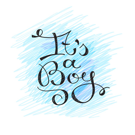 it's: its a boy, vector text for baby shower card