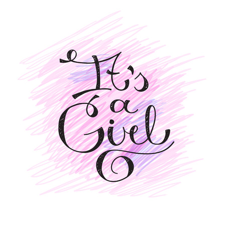 its a girl: its a girl, vector text for baby shower card