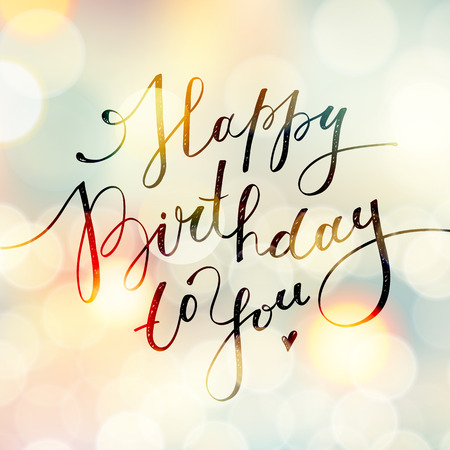 happy birthday to you, vector lettering, greeting card design Stock Illustratie