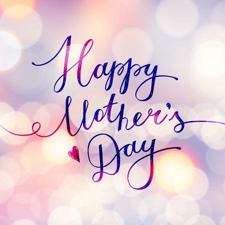 幸せな母の日、グリーティング カードの文字ベクトル